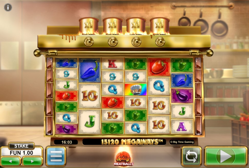 Spicy Meatballs slot reels by Big Time Gaming