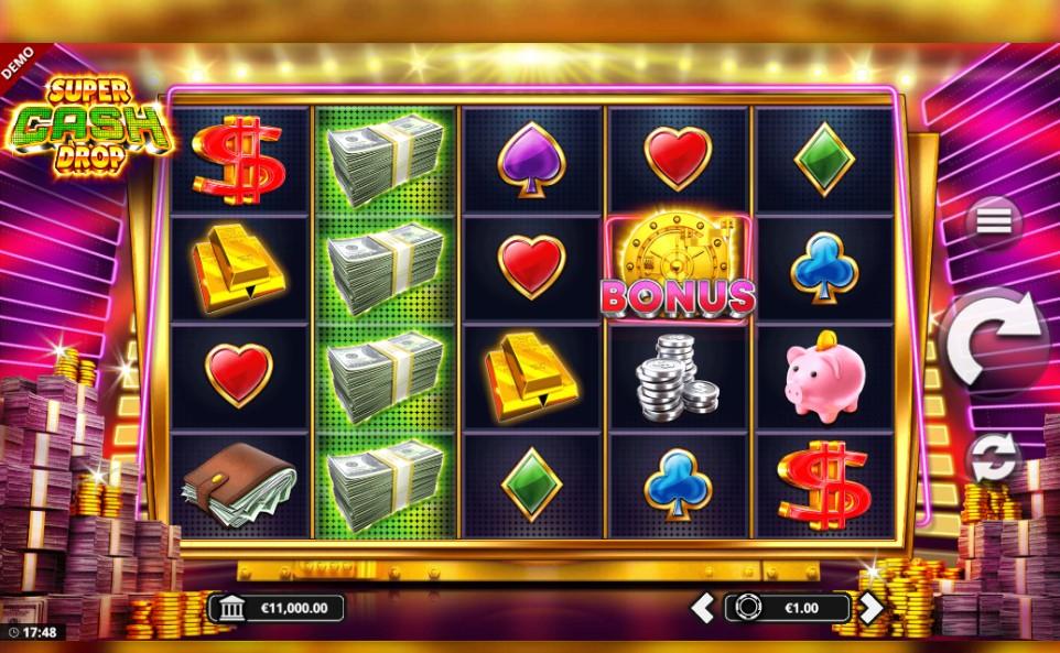 Super Cash Drop slot reels by Bang Bang Games