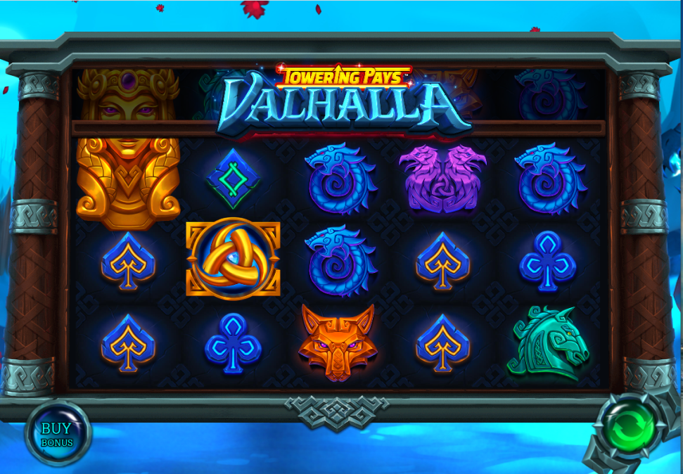 Towering Pays Valhalla slot reels by Games Lab