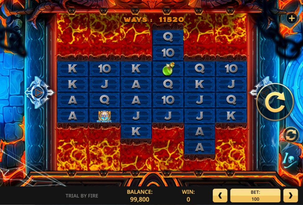 Trial by Fire slot reels by High 5 Games