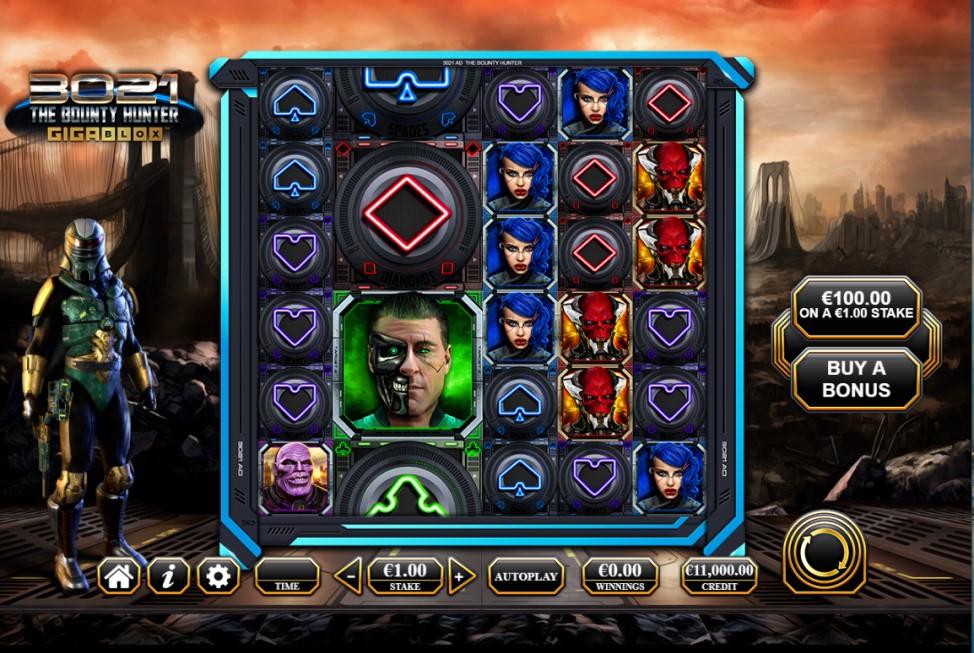 3021 The Bounty Hunter Gigablox slot reels by Reflex Gaming