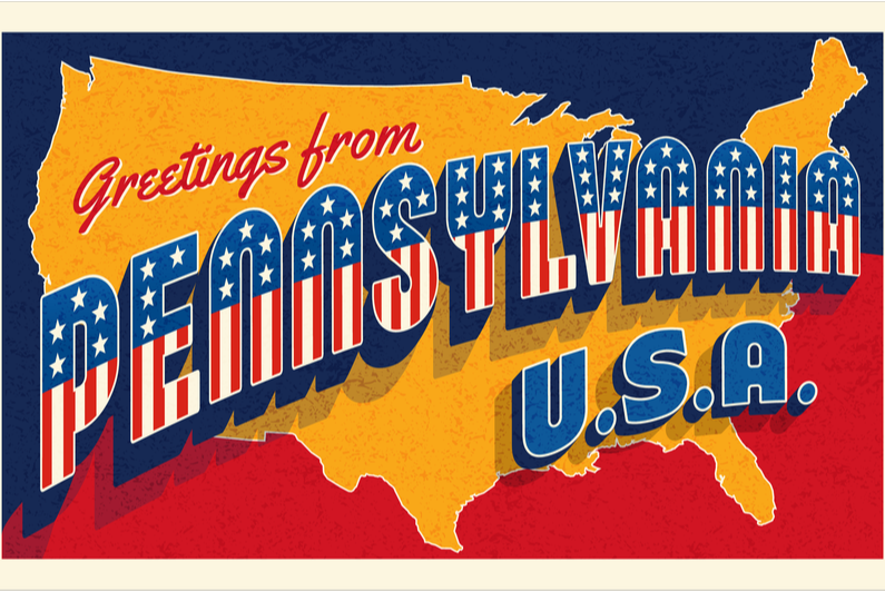 Greeting from Pennsylvania - postcard-style graphic