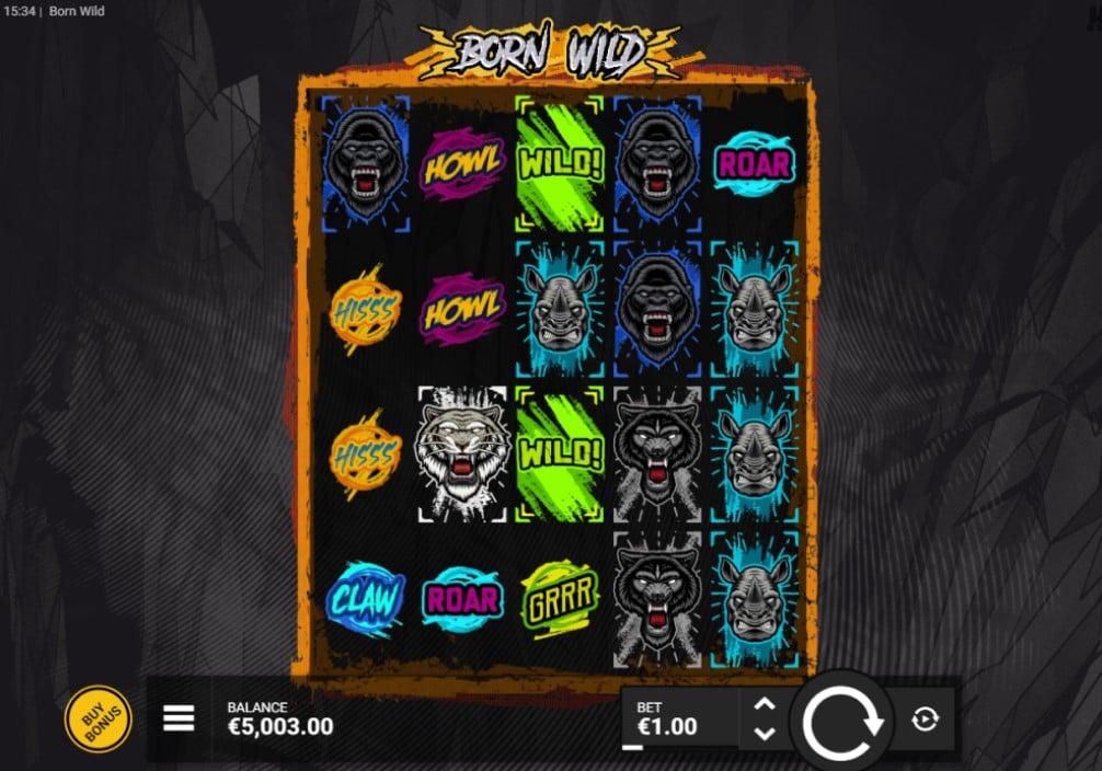 Born Wild slot reels by Hacksaw Gaming
