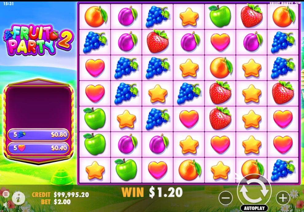 Fruit Party 2 slot reels by Pragmatic Play