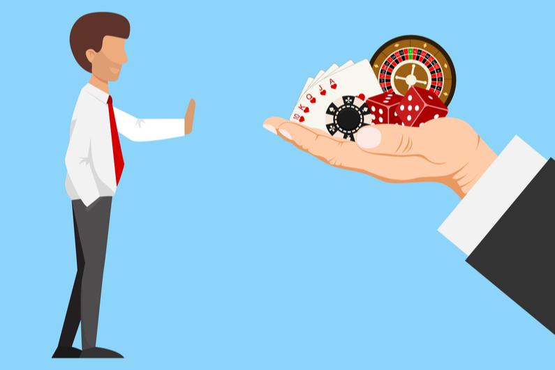 Cartoon drawing of man refusing to gamble