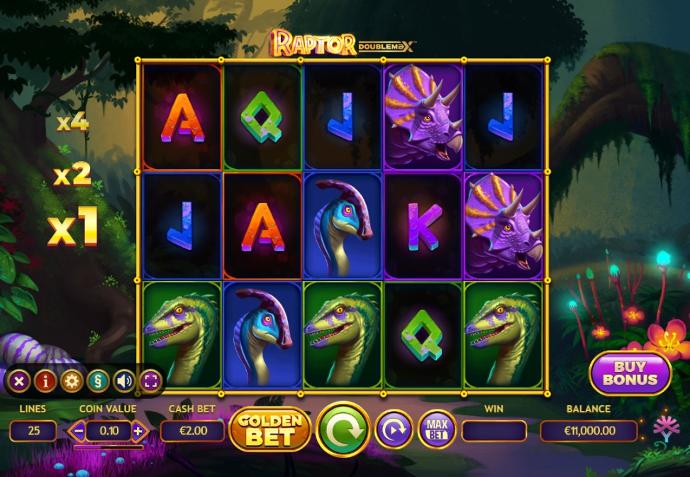 Raptor DoubleMAX slot reels by Yggdrasil Gaming
