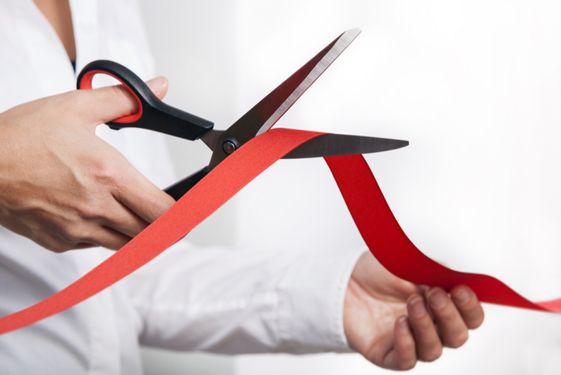 Red ribbon cutting