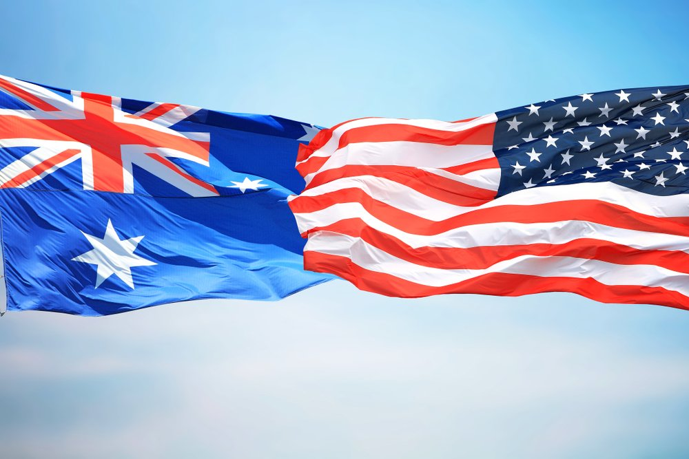 flags of Australia and the US
