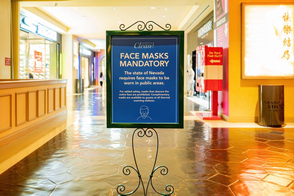 mandatory mask sign inside a Las Vegas casino