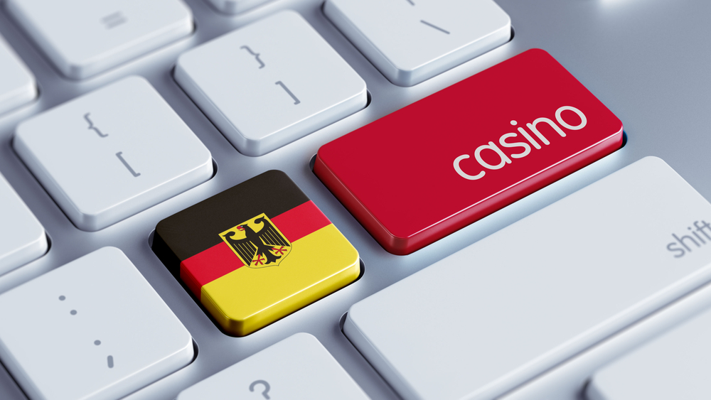 German flag on keyboard with casino label