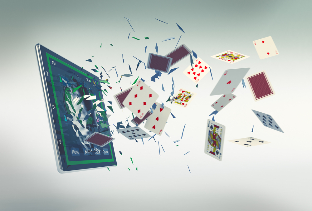 A tablet screen with playing cards