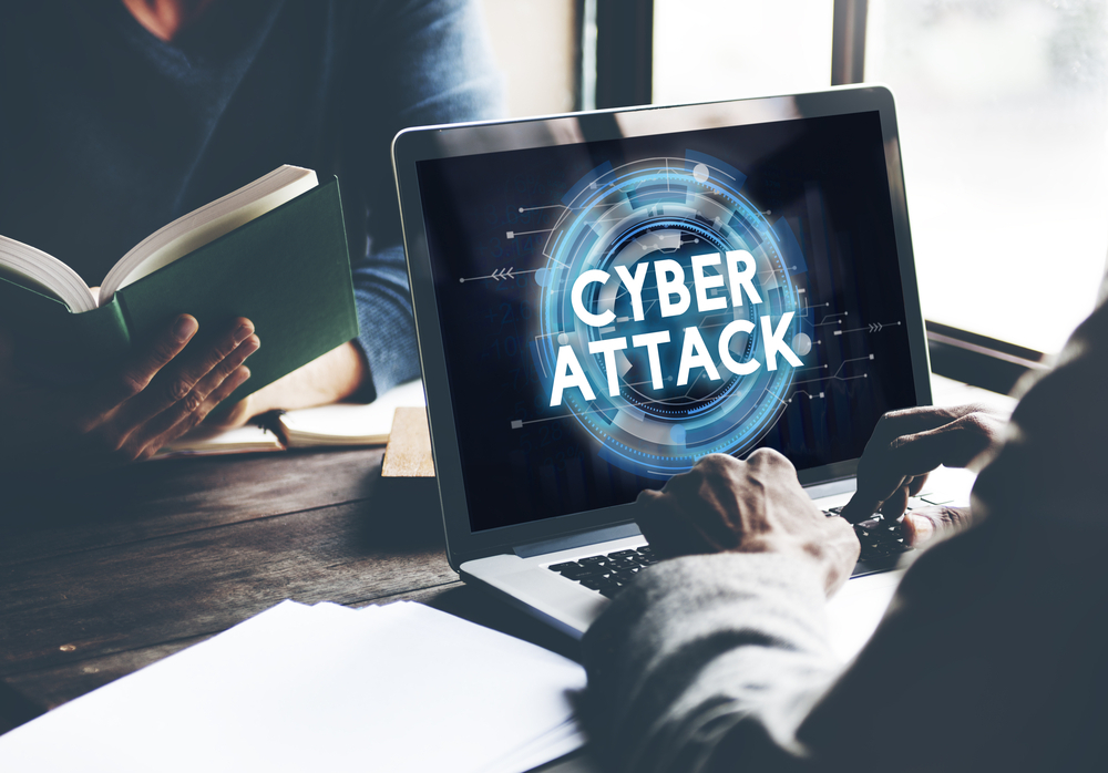 Cyber attack notification on laptop