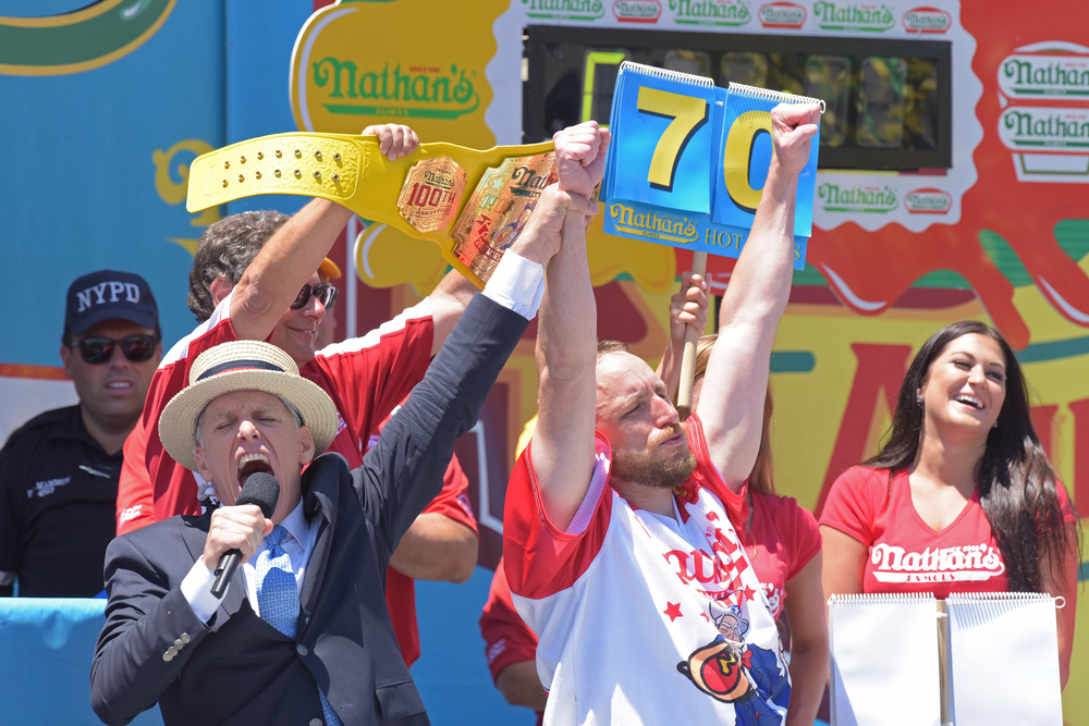 Joey Chestnut winning Nathan's Hot Dog Eating Contest