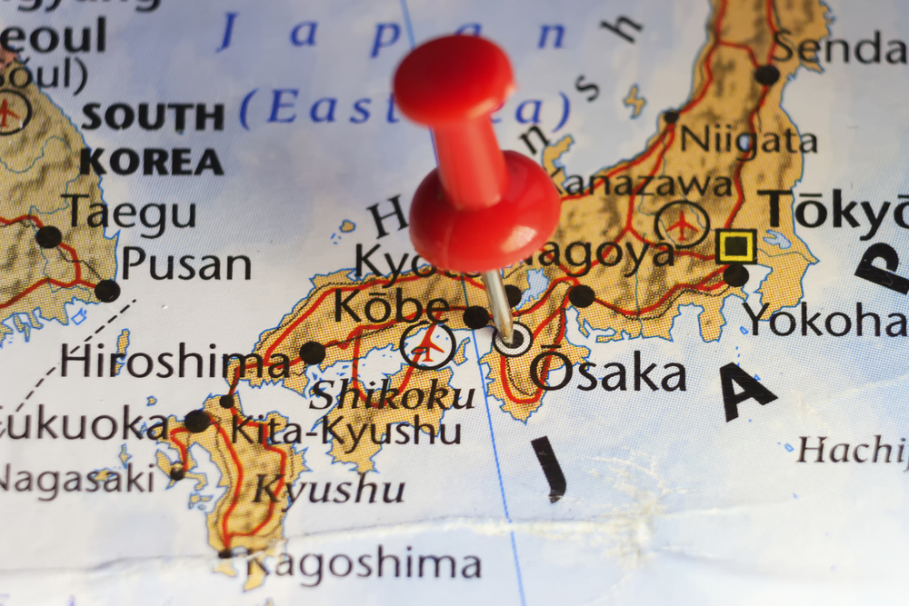 Map of Osaka with red pin
