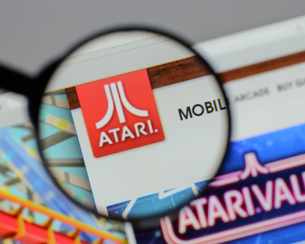 Atari logo with magnifying glass