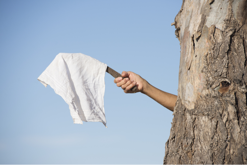 Person waving white flag in surrender from behind a tree