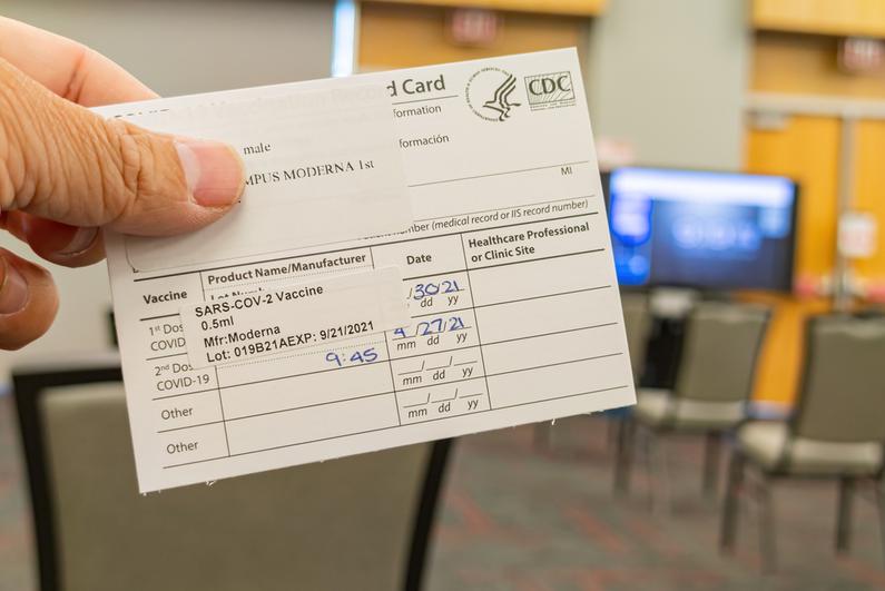 COVID vaccination card in Las Vegas