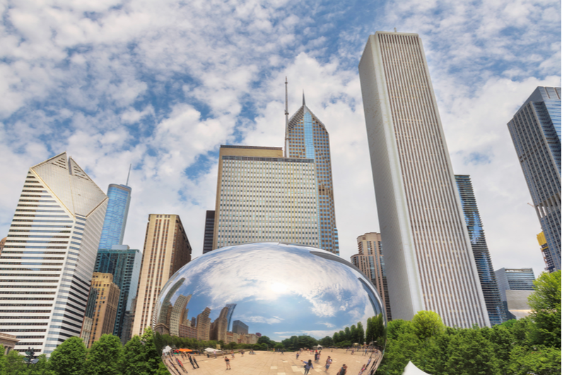 Famous Chicago bean in downtown Chicago