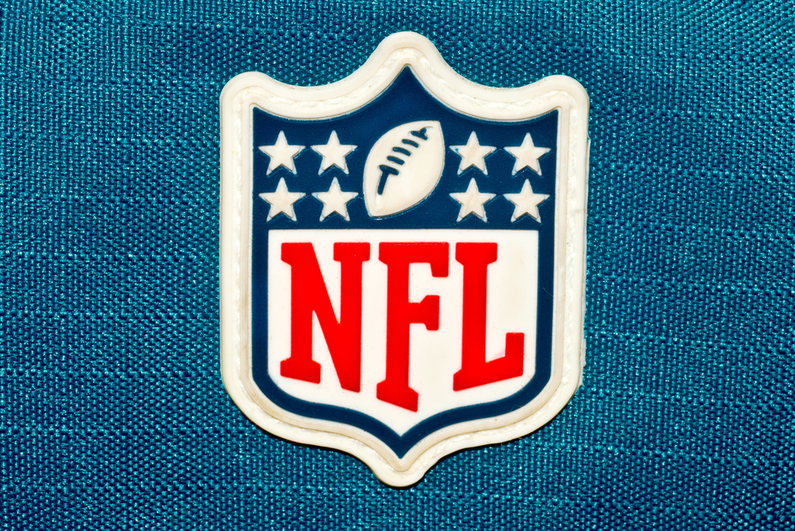 NFL logo patch on blue fabric
