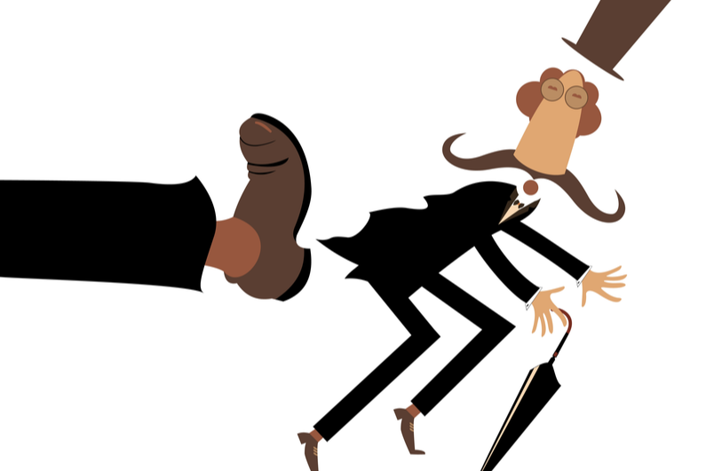 Cartoon of a rich man in a top hat getting the boot