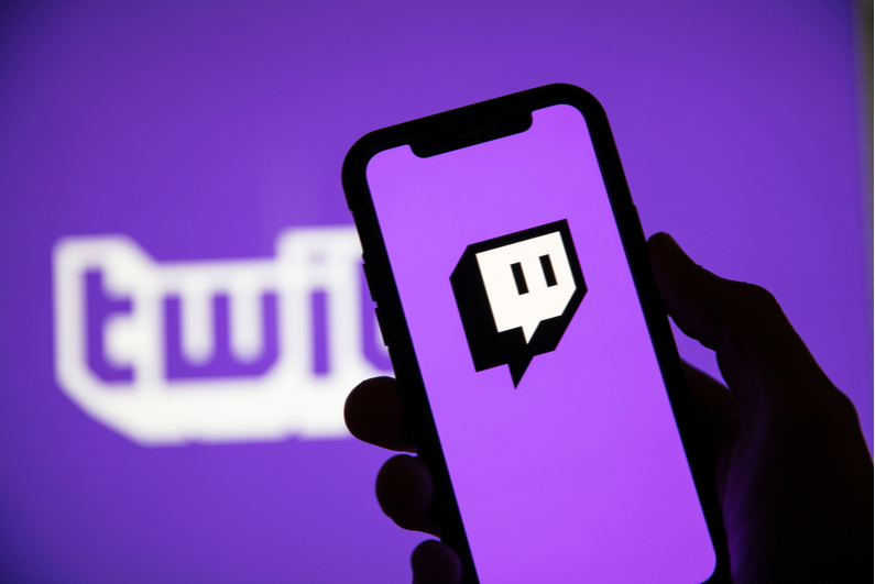 Twitch logo on a smartphone