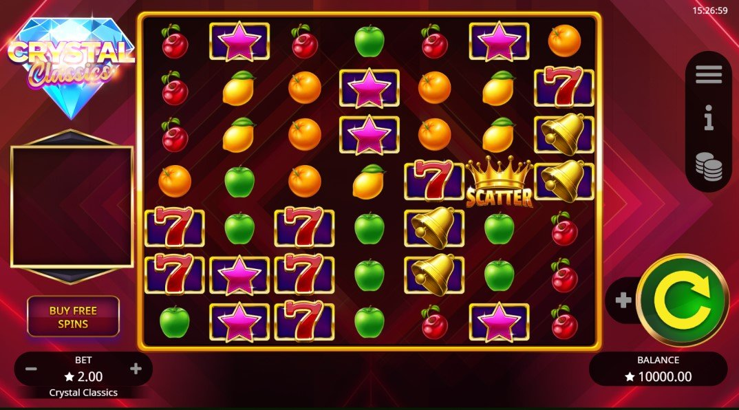 Crystal Classics slot reels by Booming Games
