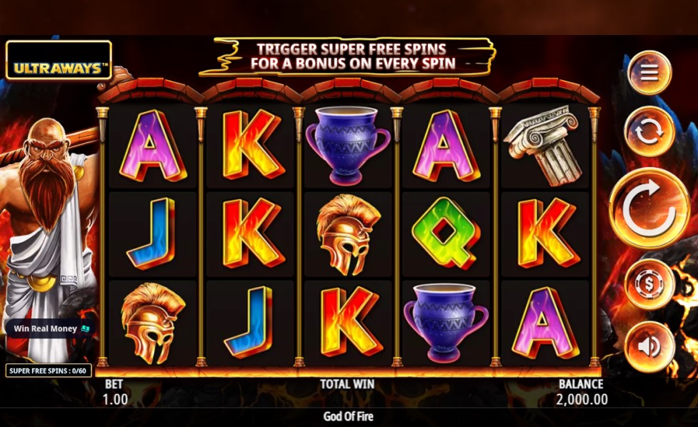 God of Fire slot reels by Northern Lights Gaming