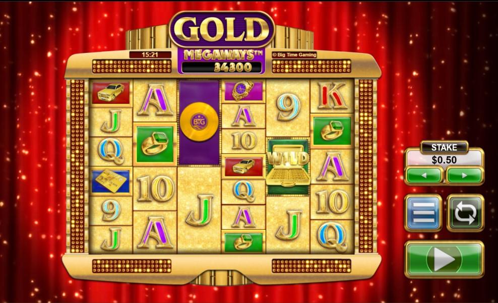 Gold Megaways slot reels by Big Time Gaming