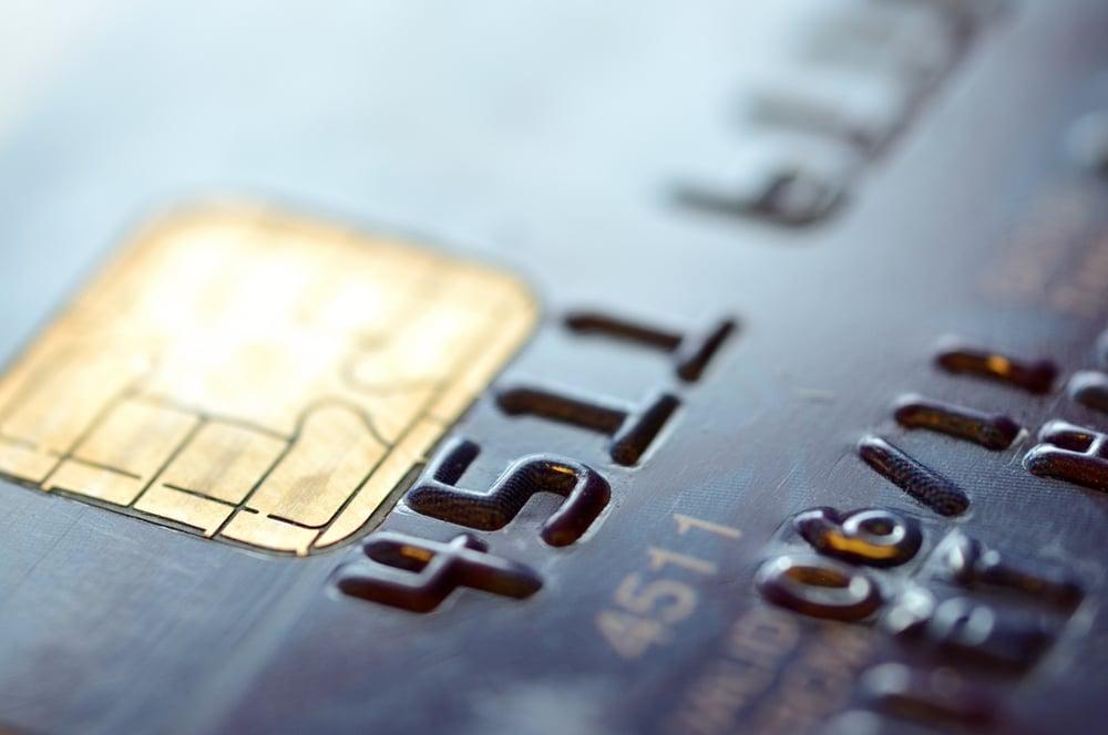 close-up of credit card details