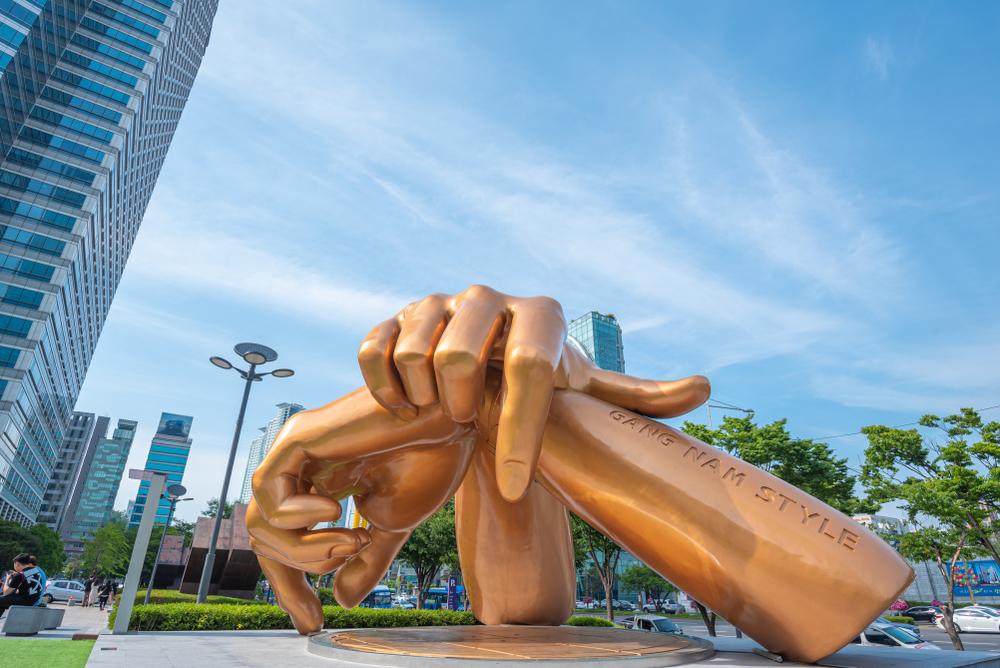 Gold Gangnam style statue in Gangnam district, South Korea