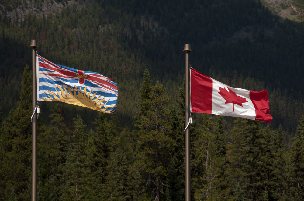 British Columbia and Canada flags