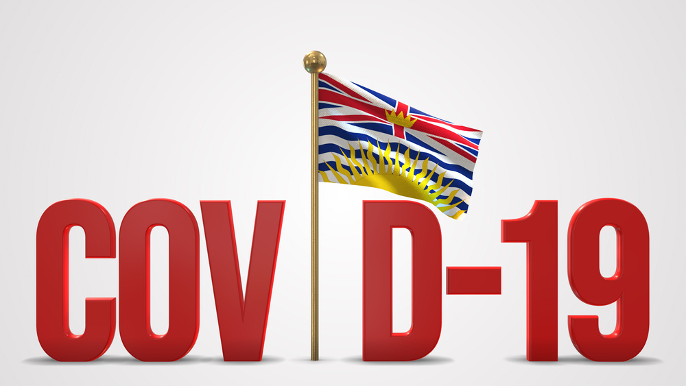 British Columbia flag with COVID-19 lettering