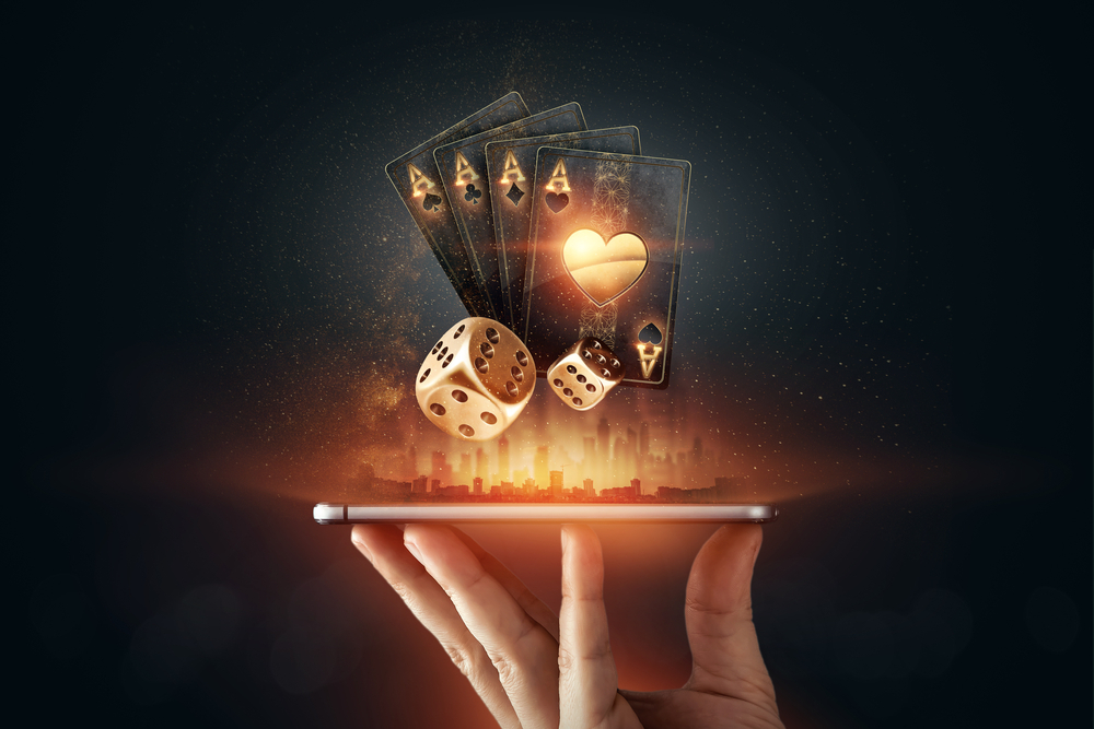 Tablet with playing cards visual