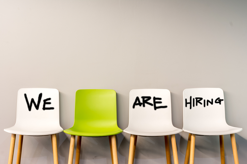 We are hiring writing on interview chairs