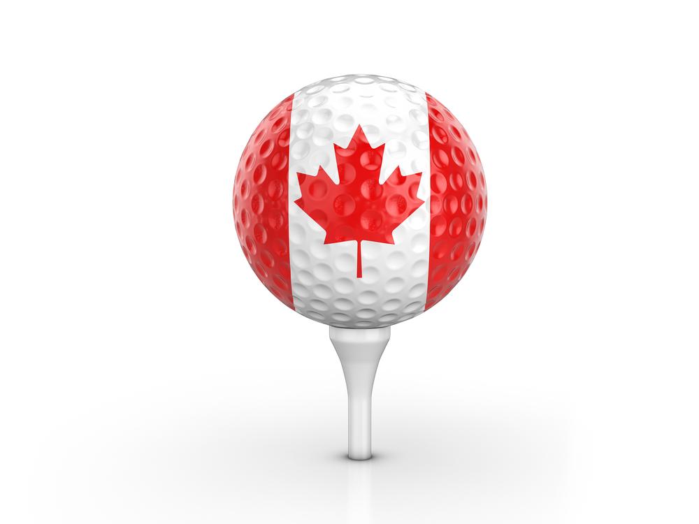 golf ball with Canada flag