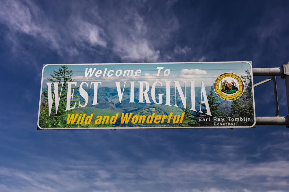 West Virginia welcome road sign