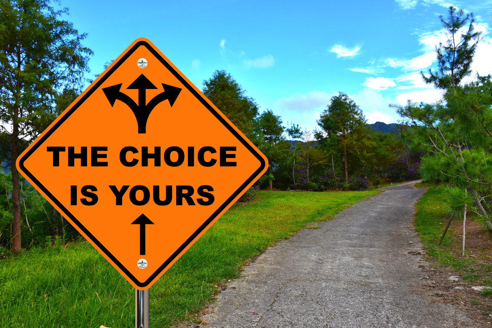 orange road sign with arrows pointing in different directions indicating multiple choices