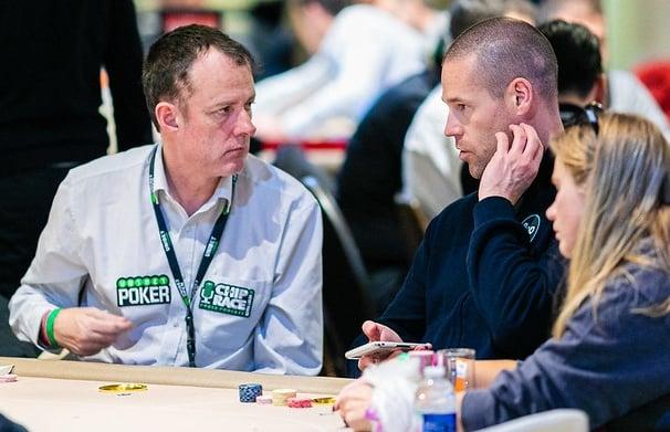 Irish poker pro Dara O'Kearney with other poker players