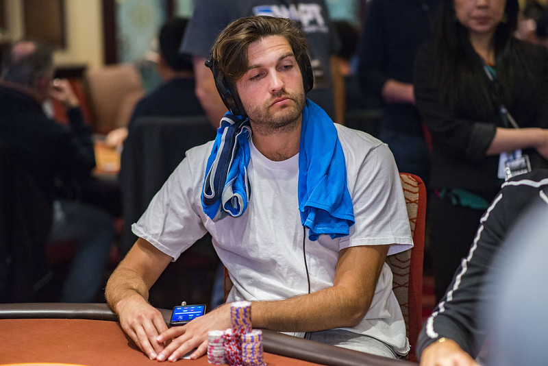 American professional poker player Joe Serock at a poker table