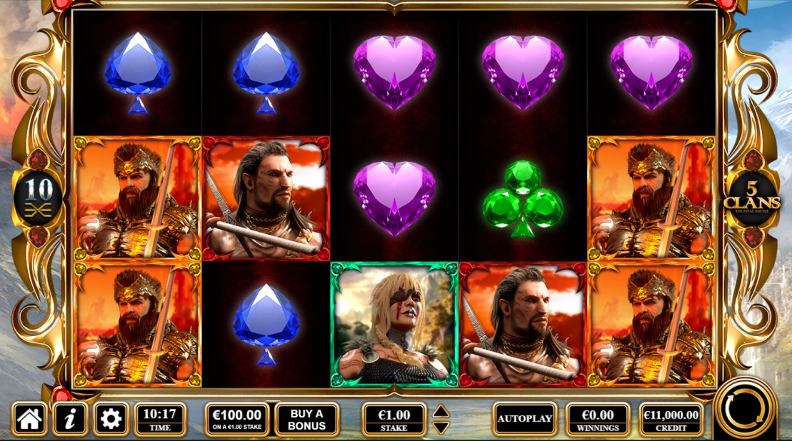 5 Clans slot reels by Reflex Gaming