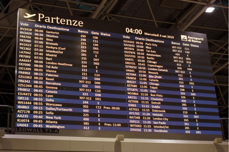 Flight departure schedules at Rome's Fiumicino Airport