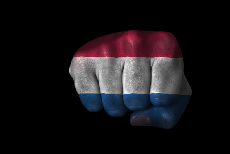 Netherlands flag painted on a fist