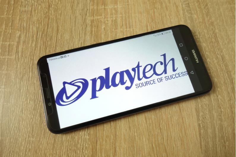Playtech logo on a smartphone