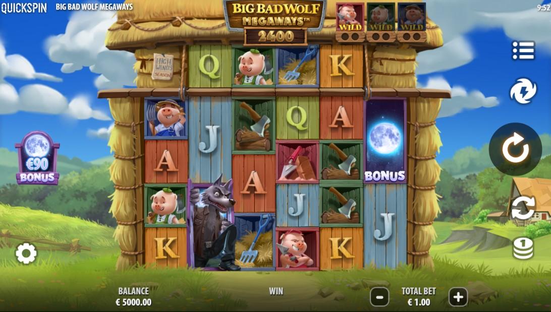 Big Bad Wolf Megaways slot reels by Quickspin