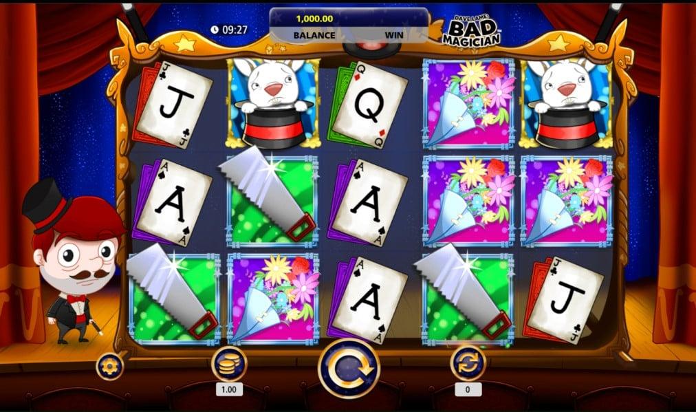 Dave Lame Bad Magician slot reels by SG Digital