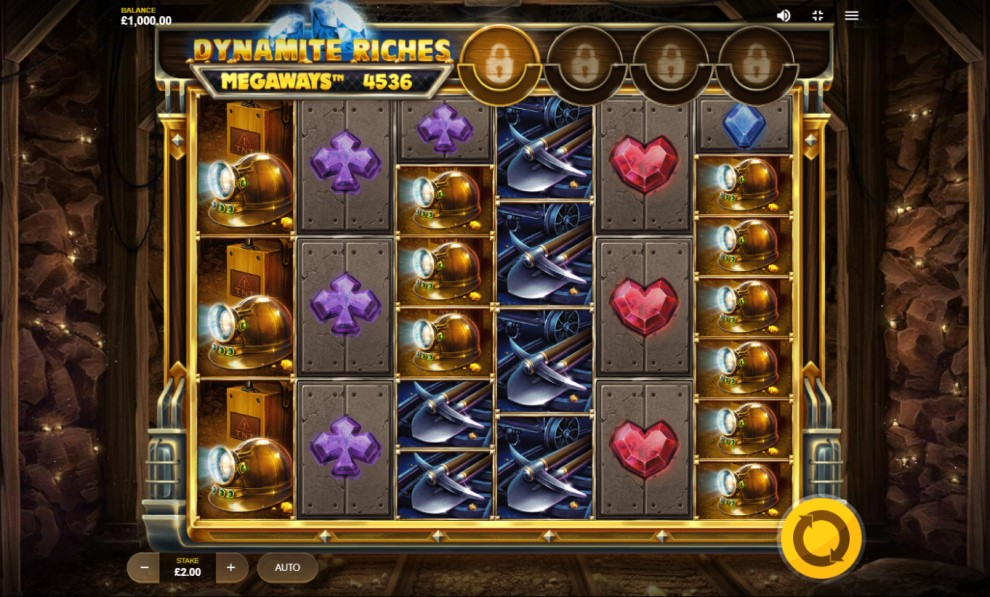 Dynamite Riches Megaways slot reels by Red Tiger