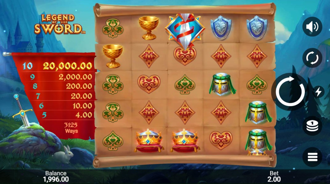 Legend of the Sword slot reels by Snowborn Games