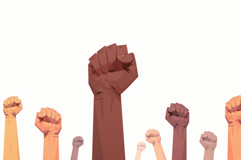 Drawing of raised fists