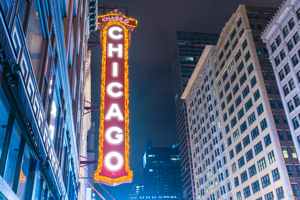 Chicago sign at night