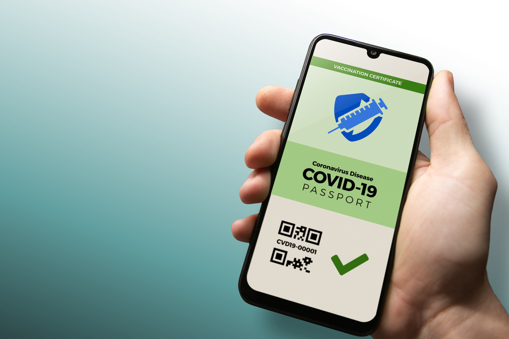 COVID-19 vaccination certificate on cell phone